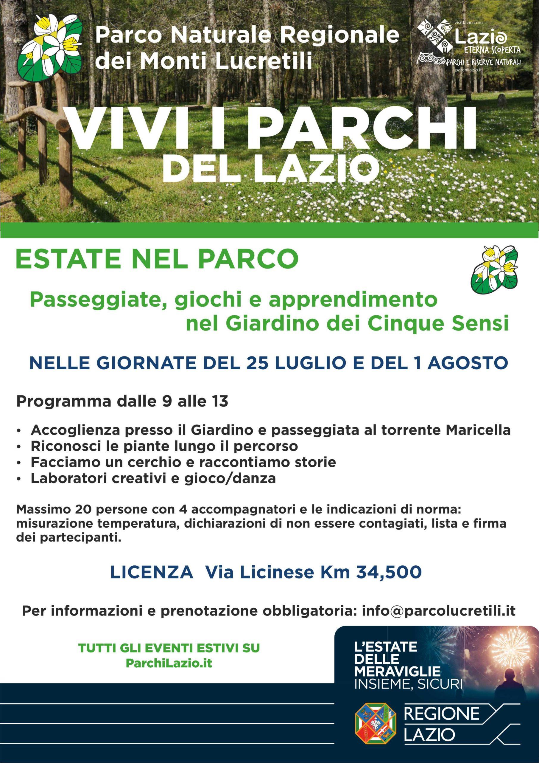 Sabato 1 agosto al Giardino dei Cinque Sensi – Parco dei Monti ...